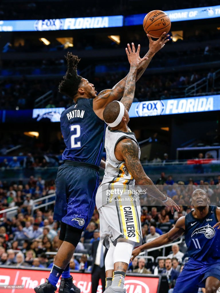 Elfrid Payton #2 of the Orlando Magic shoots over Isaiah Thomas #3 of the Cleveland Cavaliers during the game at the Amway Center on February 6, 2018 in Orlando, Florida. The Magic defeated the Cavaliers 116 to 98.
