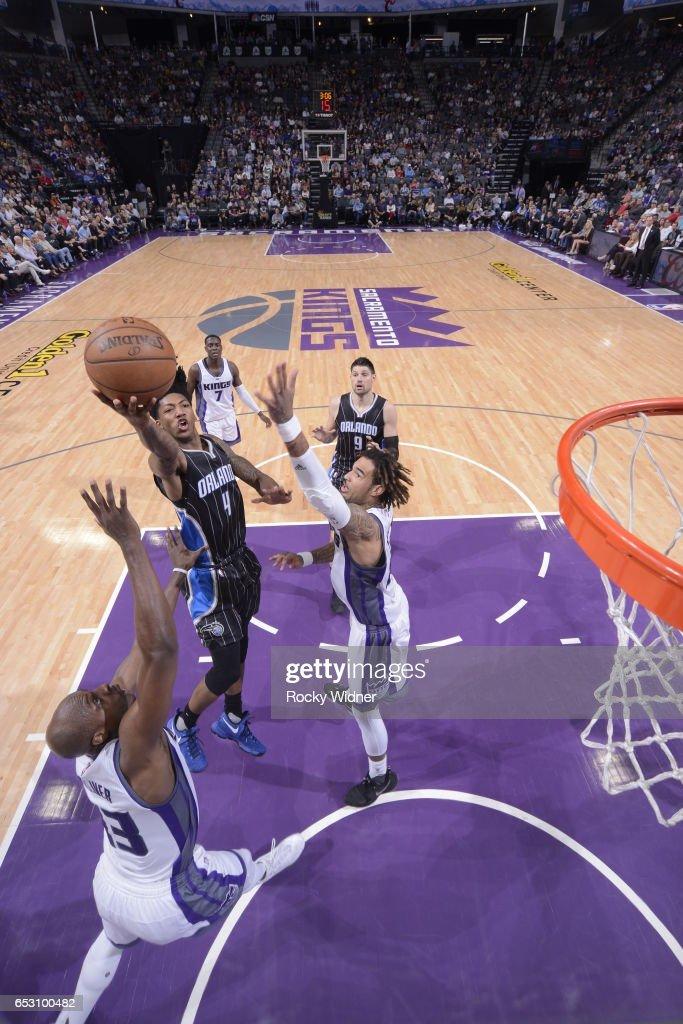 Elfrid Payton #4 of the Orlando Magic shoots the ball against the Sacramento Kings on March 13, 2017 at Golden 1 Center in Sacramento, California.