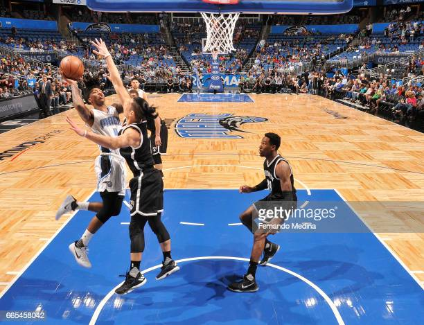 Elfrid Payton of the Orlando Magic shoots the ball against the Brooklyn Nets during the game on April 6 2017 at Amway Center in Orlando Florida NOTE...