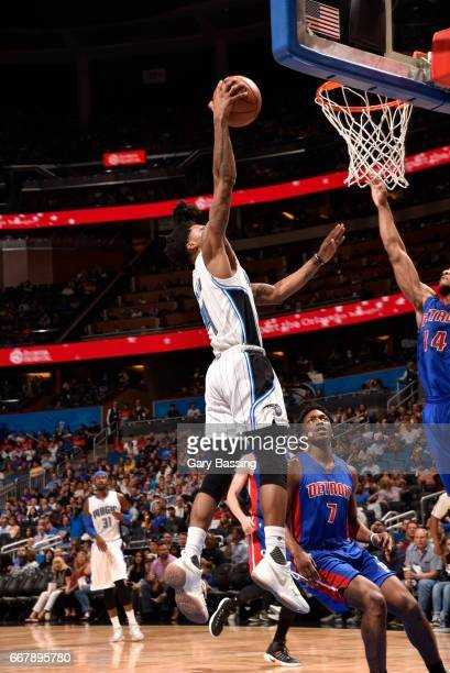 Elfrid Payton of the Orlando Magic shoots the ball against the Detroit Pistons on April 12 2017 at the Amway Center in Orlando Florida NOTE TO USER...