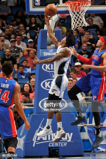 Elfrid Payton of the Orlando Magic stb against the Detroit Pistons on April 12 2017 at the Amway Center in Orlando Florida NOTE TO USER User...
