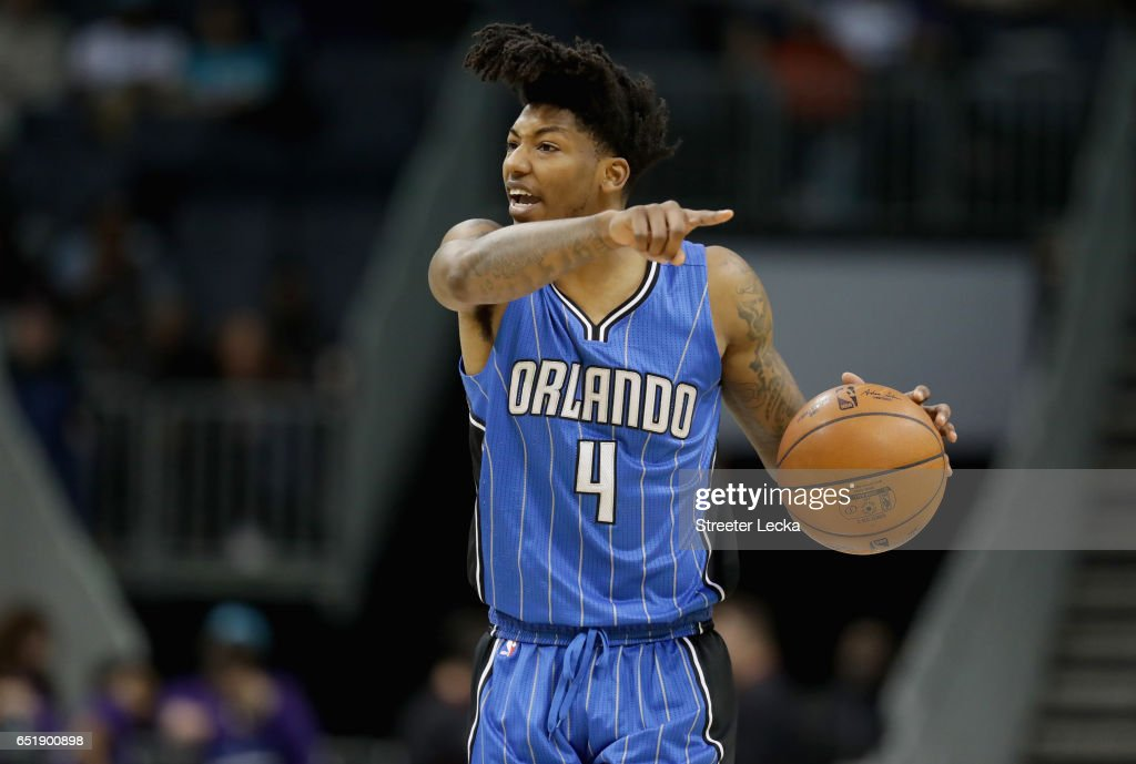 Elfrid Payton #4 of the Orlando Magic yells to his teammates during their game against the Charlotte Hornets at Spectrum Center on March 10, 2017 in Charlotte, North Carolina.