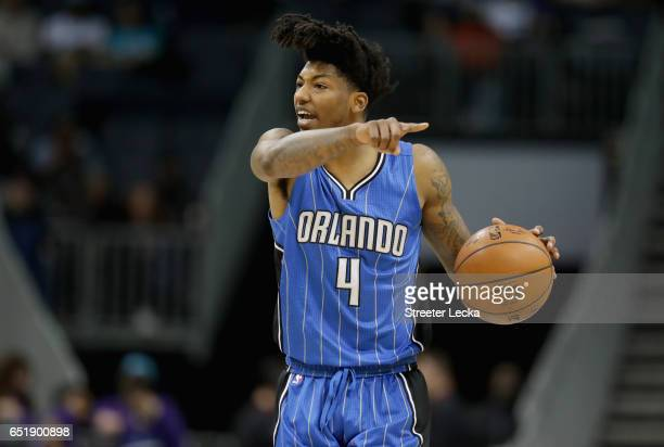 Elfrid Payton of the Orlando Magic yells to his teammates during their game against the Charlotte Hornets at Spectrum Center on March 10 2017 in...