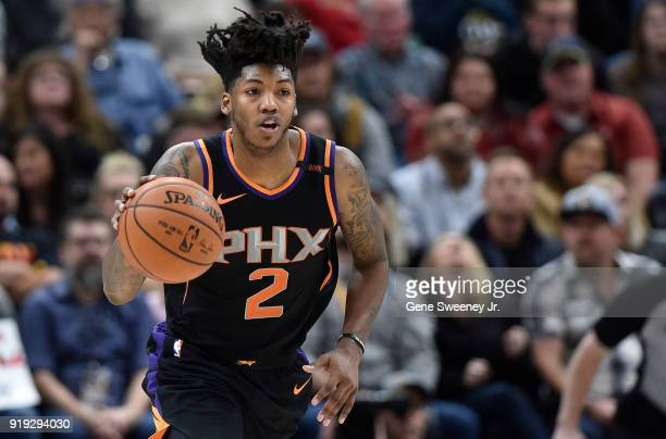 Elfrid Payton of the Phoenix Suns brings the ball up court during a game against the Utah Jazz at Vivint Smart Home Arena on February 14 2018 in Salt...