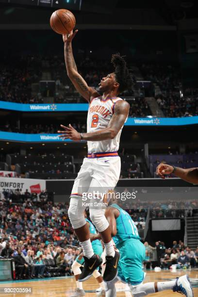 Elfrid Payton of the Phoenix Suns drives to the basket during the game against the Charlotte Hornets on March 10 2018 at Spectrum Center in Charlotte...