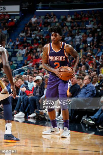 Elfrid Payton of the Phoenix Suns handles the ball against the New Orleans Pelicans on February 26 2018 at the Smoothie King Center in New Orleans...