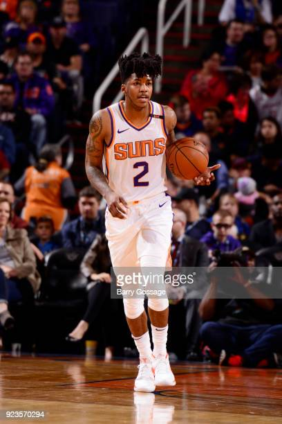 Elfrid Payton of the Phoenix Suns handles the ball against the LA Clippers on February 23 2018 at Talking Stick Resort Arena in Phoenix Arizona NOTE...