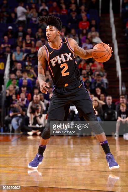Elfrid Payton of the Phoenix Suns handles the ball against the Portland Trail Blazers on February 24 2018 at Talking Stick Resort Arena in Phoenix...