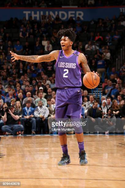 Elfrid Payton of the Phoenix Suns handles the ball during the game against the Oklahoma City Thunder on March 8 2018 at Chesapeake Energy Arena in...