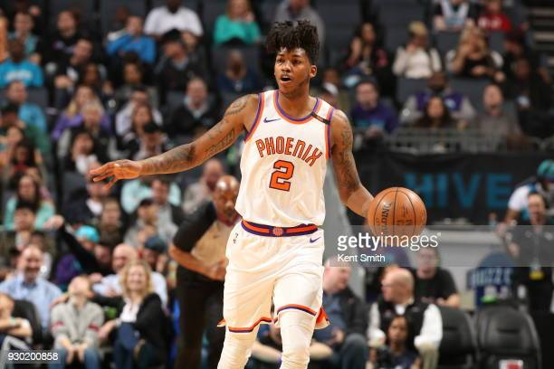 Elfrid Payton of the Phoenix Suns handles the ball during the game against the Charlotte Hornets on March 10 2018 at Spectrum Center in Charlotte...