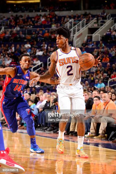 Elfrid Payton of the Phoenix Suns handles the ball during the game against the Detroit Pistons on March 20 2018 at Talking Stick Resort Arena in...