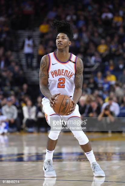 Elfrid Payton of the Phoenix Suns looks to shoot the ball against the Golden State Warriors during an NBA basketball game at ORACLE Arena on February...