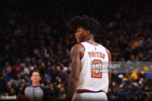 Elfrid Payton of the Phoenix Suns reacts to a play against the Golden State Warriors on February 12 2018 at ORACLE Arena in Oakland California NOTE...