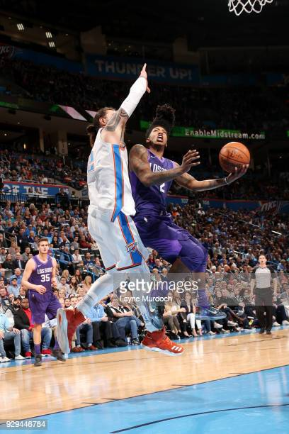 Elfrid Payton of the Phoenix Suns shoots the ball during the game against the Oklahoma City Thunder on March 8 2018 at Chesapeake Energy Arena in...