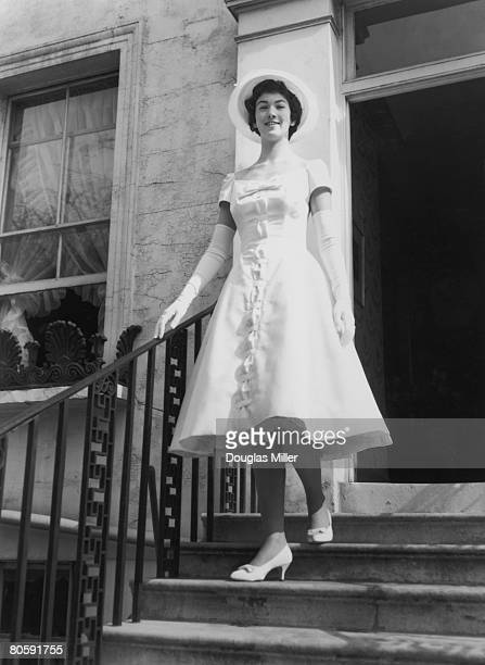 Elfrida Eden niece of Sir Anthony Eden leaves Victoria Road in Kensington for a presentation party at Buckingham Palace 20th March 1958