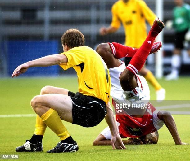 Elfsborg's Daniel Mobaeck collides with Braga's Evaldo during their Europa League third qualifying round football match Elfsborg vs. Braga on August...
