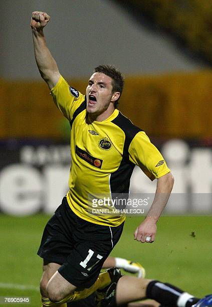 Elfsborg's Keene James celebrates his equalising goal in the match with Dinamo Bucharest's during the fist round, first leg UEFA Cup match in...