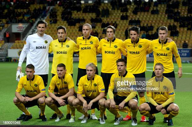 Elfsborg's players pose for their team's photo prior to the UEFA Europa League football match IF Elfsborg vs Standard de Liege in Boras on October 3...