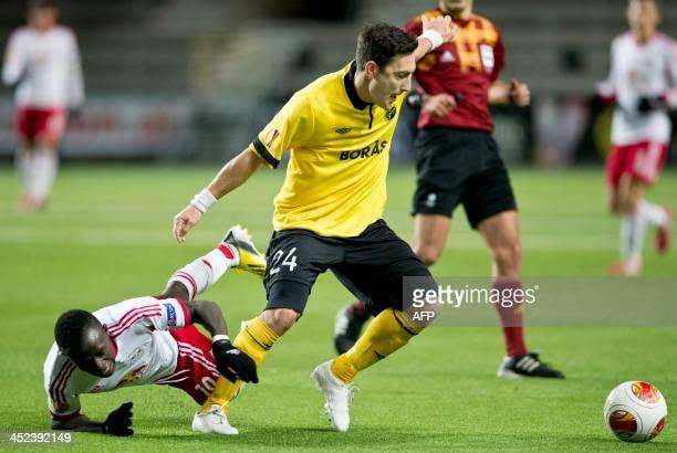 Elfsborg's Swedish midfielder Stefan Ishizaki and Salzburg's Senegalese midfielder Sadio Mane vie for the ball during the UEFA Europa League Group C...