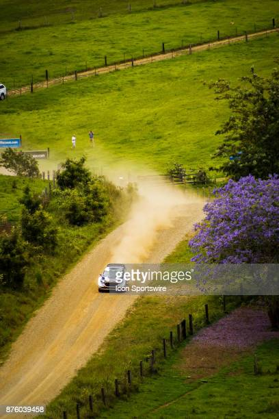 Elfyn Evans and codriver Daniel Barrit of MSport compete in the Argents section on day two of the Rally Australia round of the 2017 FIA World Rally...