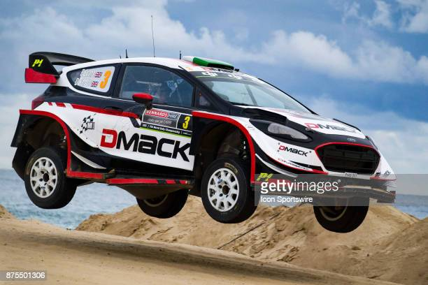 Elfyn Evans and codriver Daniel Barrit of MSport gets some air on a jump during Super Special Stage the Rally Australia round of the 2017 FIA World...