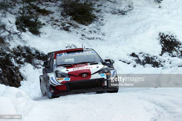 Elfyn Evans and Scott Martin of Great Britain compete with their Toyota Gazoo Racing WRT Toyota Yaris WRC during day four of the FIA World Rally...