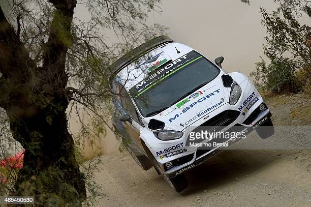 Elfyn Evans of Great Britain and Daniel Barritt of Great Britain compete in their MSport WRT Ford Fiesta RS WRC during Day One of the WRC Mexico on...