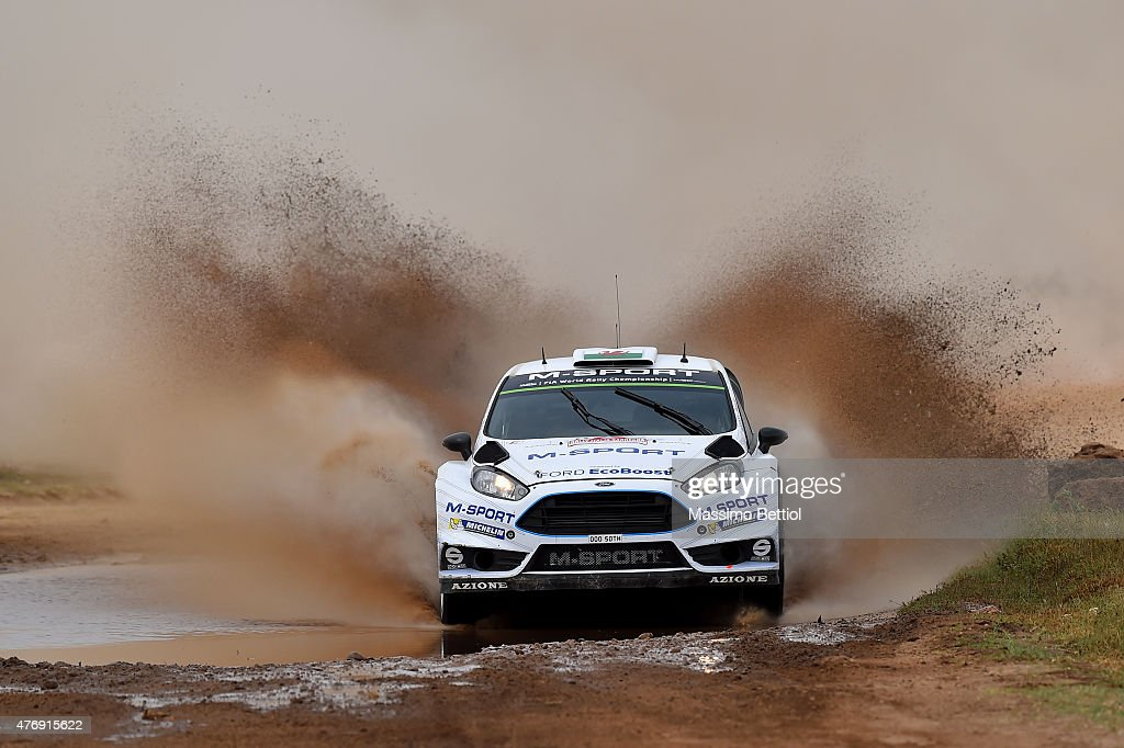 Elfyn Evans of Great Britain and Daniel Barritt of Great Britain compete in their M-Sport WRT Ford Fiesta RS WRC during Day One of the WRC Rally Italia Sardinia on June 12, 2015 in Alghero, Italy.
