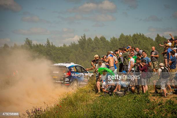 Elfyn Evans of Great Britain and Daniel Barritt of Great Britain compete in their MSport WRT Ford Fiesta RS WRC during the Shakedown of the WRC...