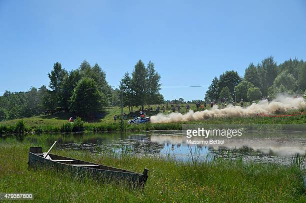 Elfyn Evans of Great Britain and Daniel Barritt of Great Britain compete in their MSport WRT Ford Fiesta RS WRC during Day One of the WRC Poland on...