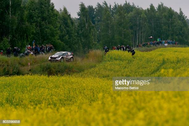 MIKOLAJKI POLAND JUNE Elfyn Evans of Great Britain and Daniel Barritt of Great Britain compete in their MSport WRT Ford Fiesta WRC during the...