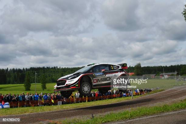 Elfyn Evans of Great Britain and Daniel Barritt of Great Britain compete in their MSport WRT Ford Fiesta WRC during Day Two of the WRC Finland on...