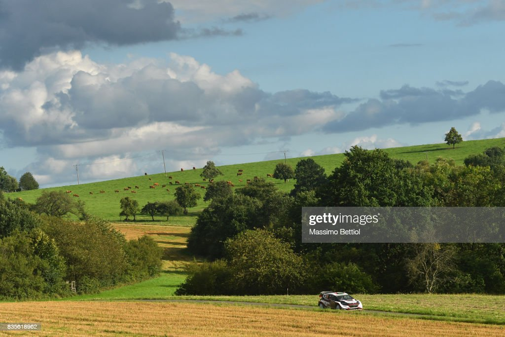 Elfyn Evans of Great Britain and Daniel Barritt of Great Britain compete in their M-Sport WRT Ford Fiesta WRC during Day Two of the WRC Germany on August 19, 2017 in Trier, Germany.