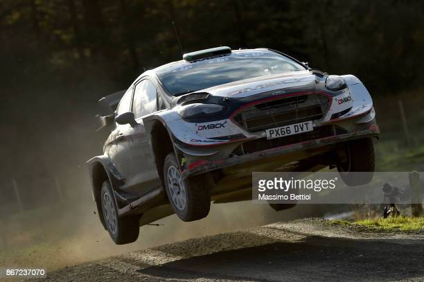 Elfyn Evans of Great Britain and Daniel Barritt of Great Britain compete in their MSport WRT Ford Fiesta WRC during Day One of the WRC Great Britain...