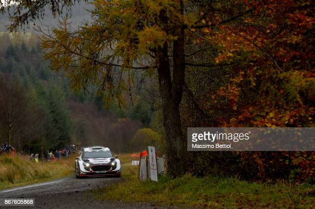 Elfyn Evans of Great Britain and Daniel Barritt of Great Britain compete in their MSport WRT Ford Fiesta WRC during Day Two of the WRC Great Britain...