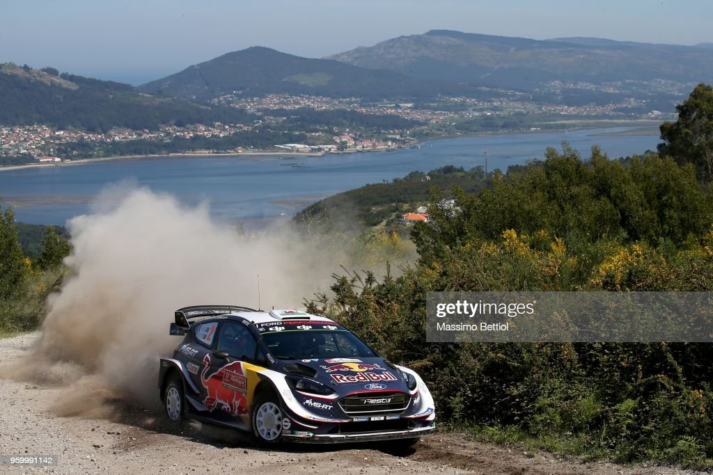 Elfyn Evans of Great Britain and Daniel Barritt of Great Britain compete in their M-Sport Ford WRT Ford Fiesta WRC during Day Two of the WRC Portugal on May 18, 2018 in Faro, Portugal.