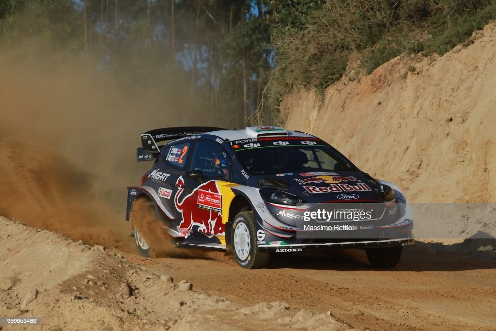 Elfyn Evans of Great Britain and Daniel Barritt of Great Britain compete with their M-Sport Ford WRT Ford Fiesta WRC during Day One of the WRC Portugal on May 17, 2018 in Faro, Portugal.