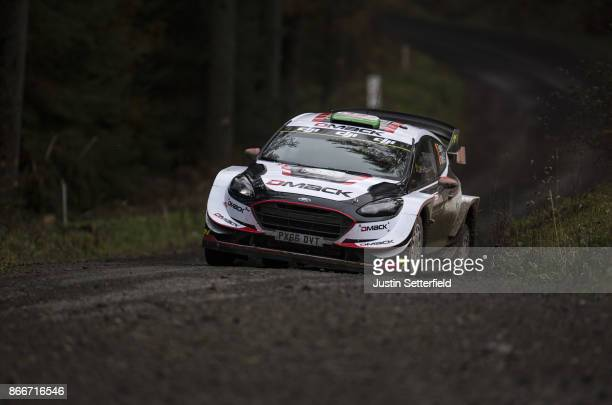 Elfyn Evans of Great Britain and MSport World Rally Team drives with codriver Daniel Barritt of Great Britain during the FIA World Rally Championship...