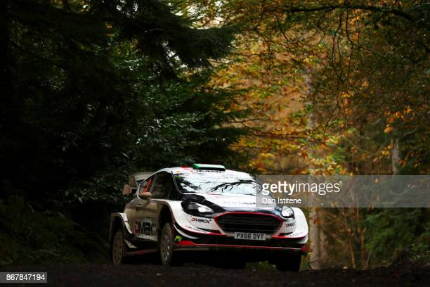Elfyn Evans of Great Britain and MSport World Rally Team drives with codriver Daniel Barritt of Great Britain during day three of the FIA World Rally...
