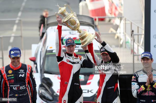 Elfyn Evans of Great Britain and MSport World Rally Team with codriver Daniel Barritt celebrate victory during day four of the Dayinsure Wales Rally...