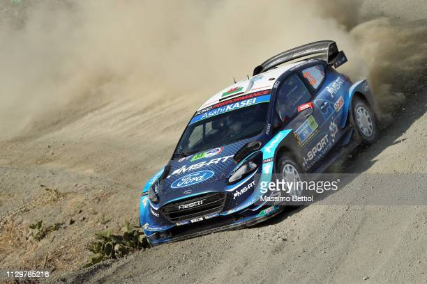 Elfyn Evans of Great Britain and Scott Martin of Great Britain compete with their MSport Ford WRT Ford Fiesta WRC during Day Three of the WRC Mexico...