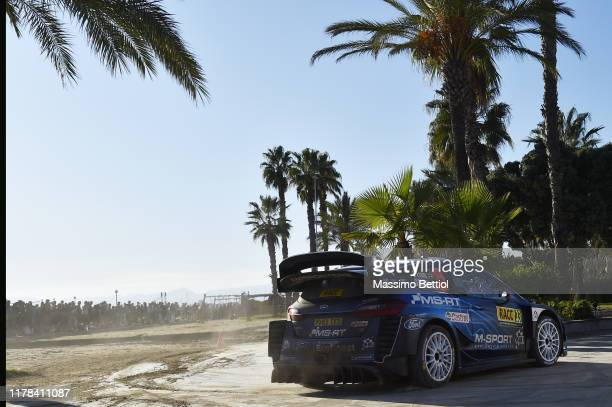 Elfyn Evans of Great Britain and Scott Martin of Great Britain compete with their M-Sport FORD WRT Ford Fiesta WRC during Day Two of the FIA WRC RACC...