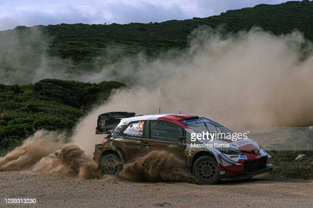 Elfyn Evans of Great Britain and Scott Martin of Great Britain compete with their Hyundai Shell Mobis WRT Hyundai i20 Coupe WRC during Day Three of...
