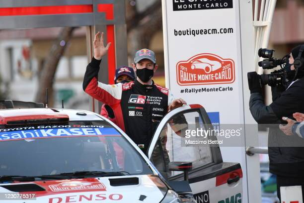 Elfyn Evans of Great Britain celebrates finishing second overall during the FIA World Rally Championship Monte Carlo Day Four on January 24, 2021 in...