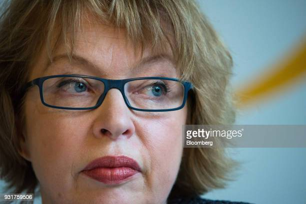 Elga Bartsch chief European economist at Morgan Stanley pauses while addressing the 'ECB and its Watchers' conference in Frankfurt Germany on...