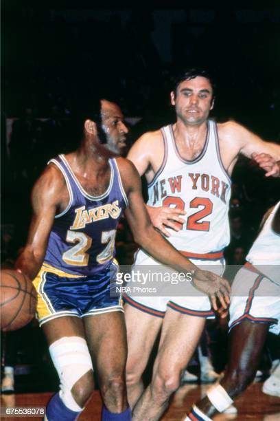 Elgin Baylor of the Los Angeles Lakers dribbles against the New York Knicks circa 1965 at the Great Western Forum in Inglewood California NOTE TO...