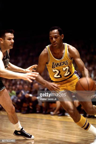 Elgin Baylor of the Los Angeles Lakers drives to the basket against the Boston Celtics at the Los Angeles Memorial Sports Arena in Los Angeles...