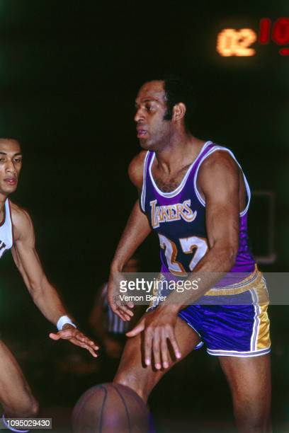 Elgin Baylor of the Los Angeles Lakers handles the ball against the Milwaukee Bucks on January 21 1969 at the Milwaukee Arena in Milwaukee Wisconsin...