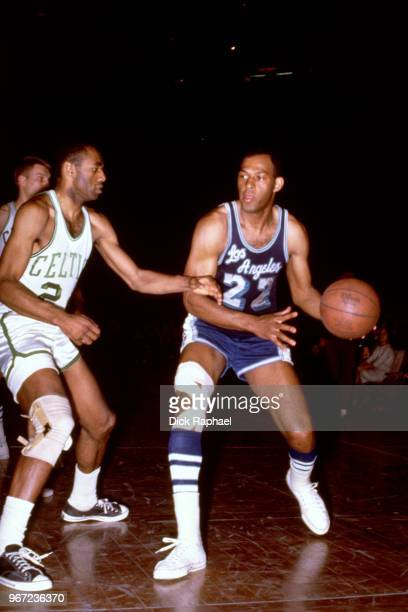 Elgin Baylor of the Los Angeles Lakers handles the ball against the Boston Celtics circa 1966 at the Boston Garden in Boston Massachusetts NOTE TO...
