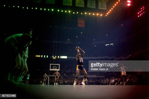 Elgin Baylor of the Los Angeles Lakers shoots a foul shot against the Boston Celtics at the Boston Garden in Boston Massachusetts circa 1967 NOTE TO...
